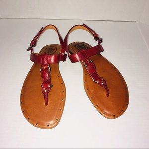Ariat Maroon Leather Embellished Strappy Sandals
